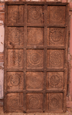 Old Tribal Door from Baster with Animals & Chakra Symbols